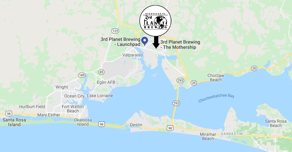 Map to 3rd Planet Brewery