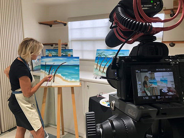 Kathy teaching a Paint the Coast painting video